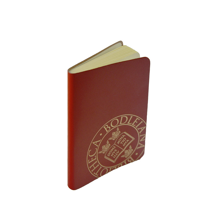 Library Stamp Leather Pocket Notebook - Red
