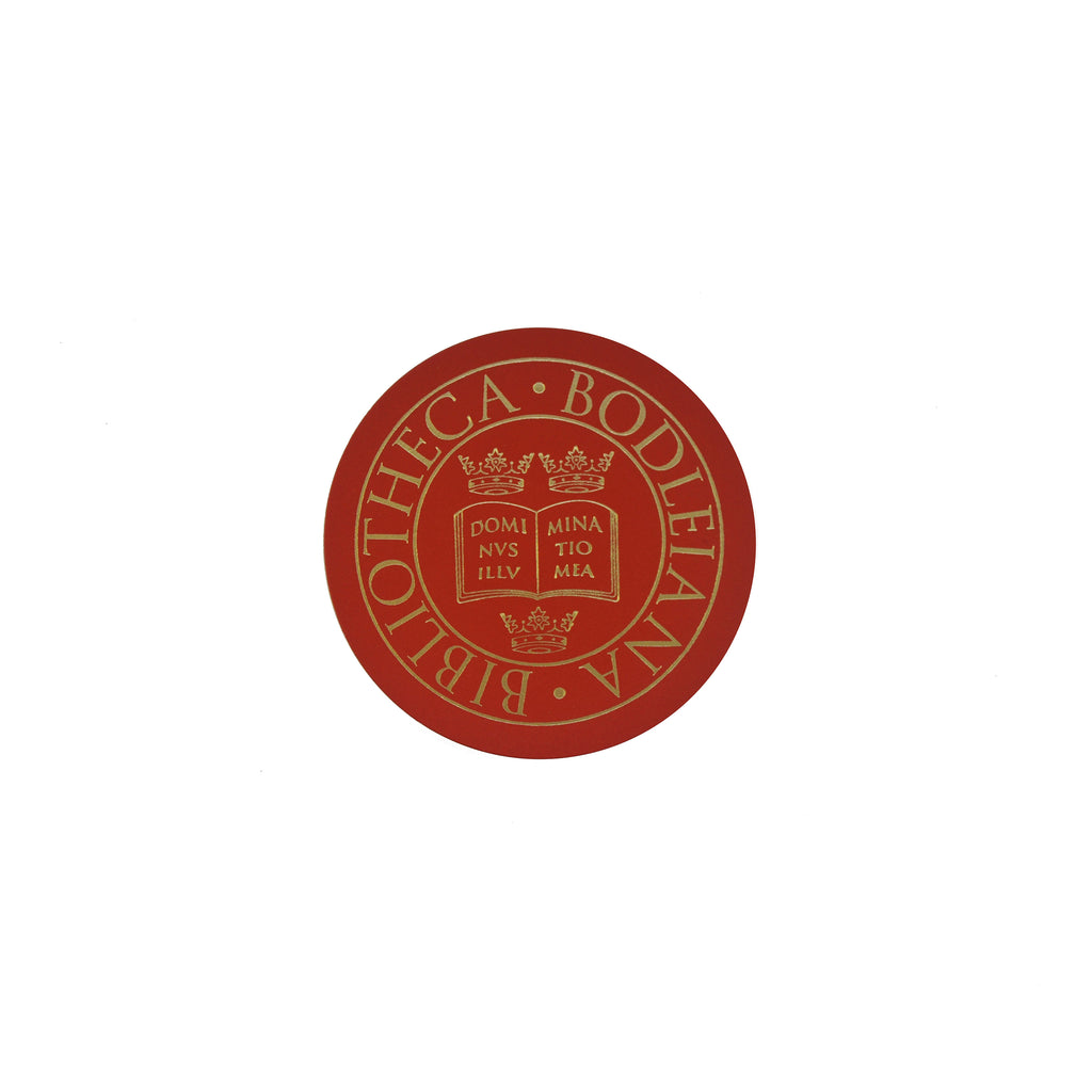 Library Stamp Leather Coaster - Red