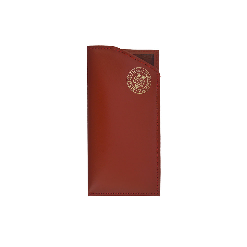 Library Stamp Leather Glasses Case - Red