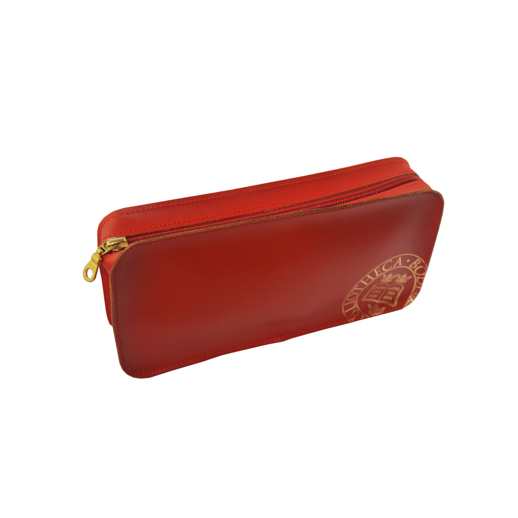 Library Stamp Deep Leather Pencil Case - Red