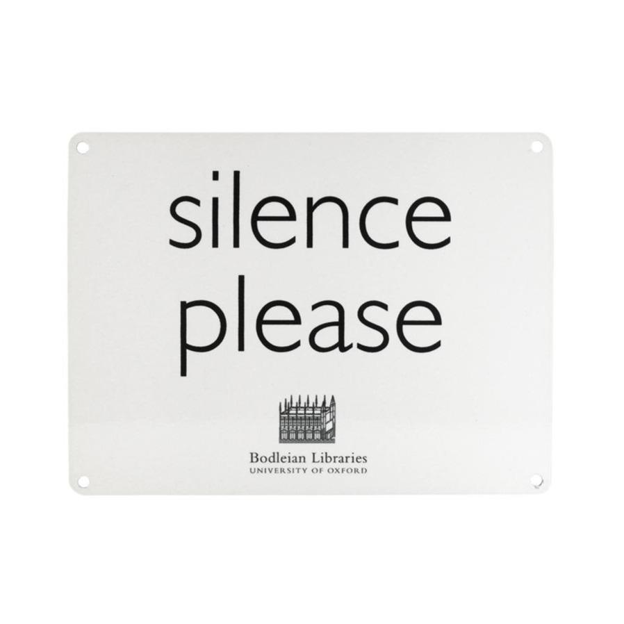 Silence Please White Metal Sign