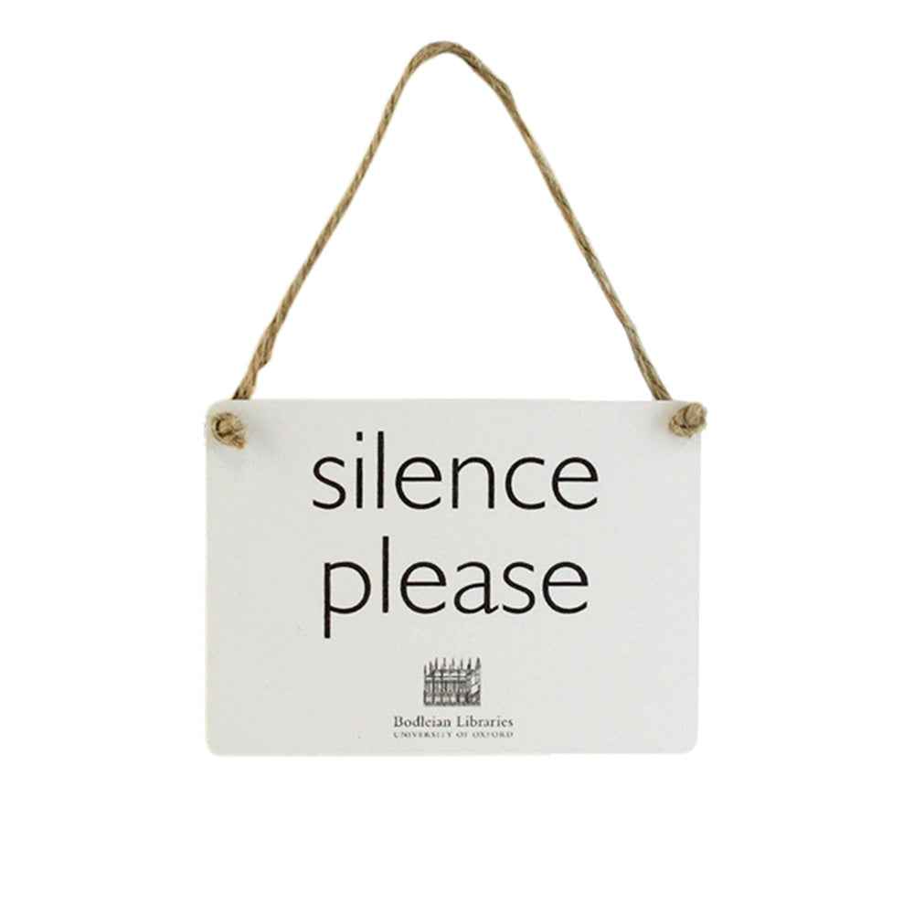 Mini Silence Please White Metal Sign