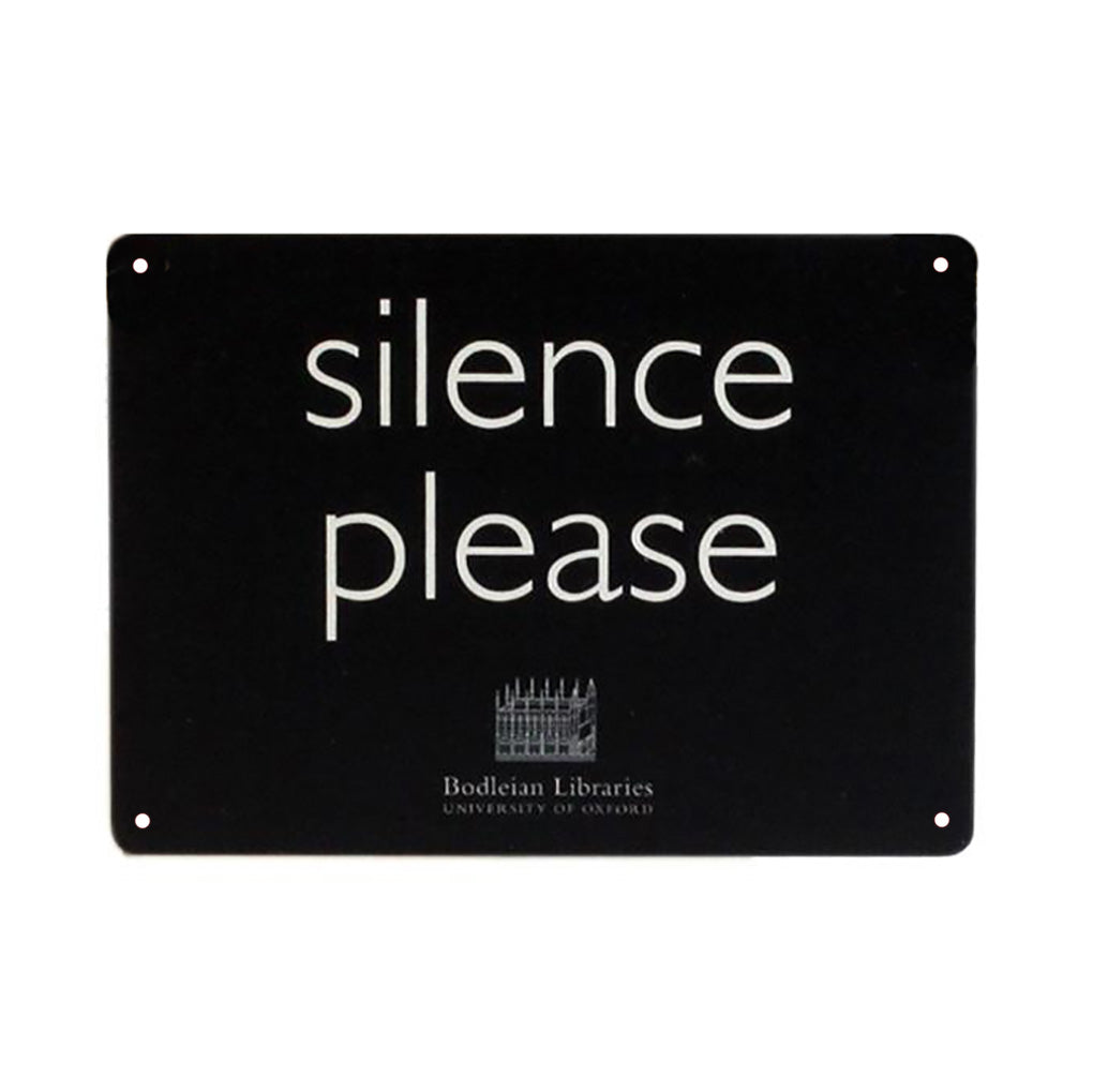 Silence Please Black Metal Sign