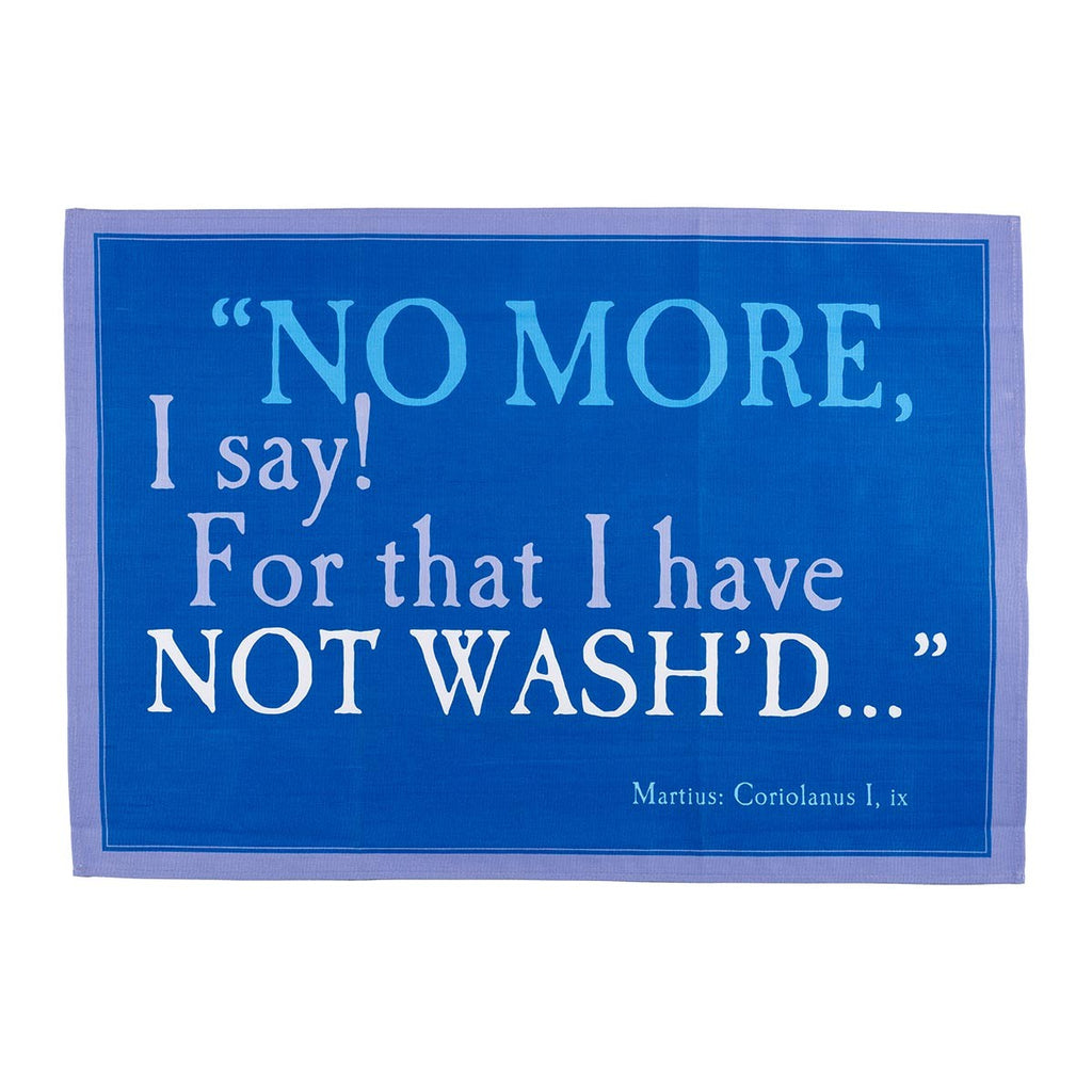 No More I Say Blue Tea Towel