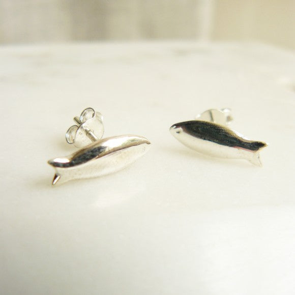 Silver Fish Stud Earrings