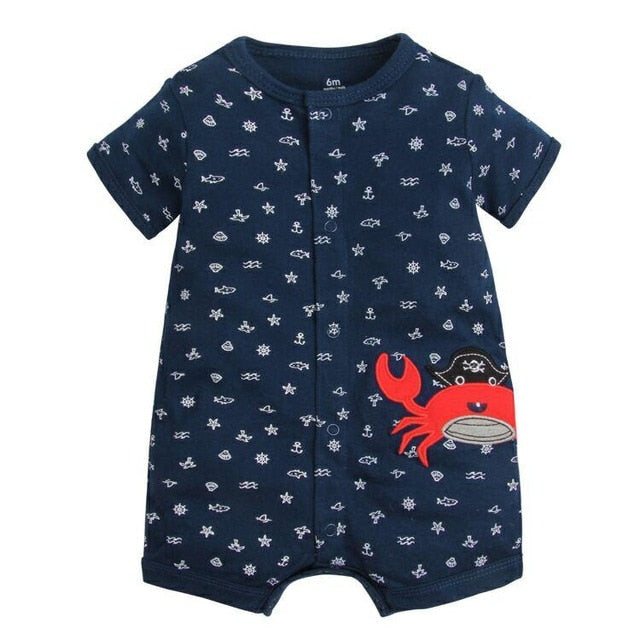 USA Newborn Toddler Baby Girl Floral Crab Romper Jumpsuit Bodysuit Outfits 0-24M