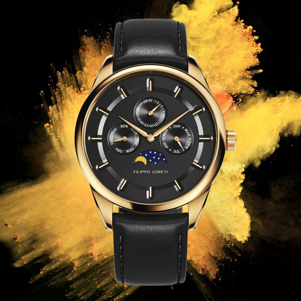 Venice Moonphase Gold Black Watch with Leather Strap