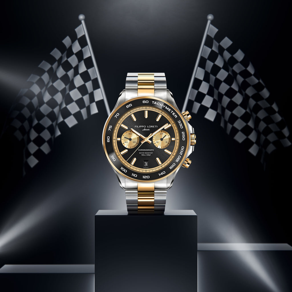 Ascari GrandPrix Two Tone Gold Black Link Watch