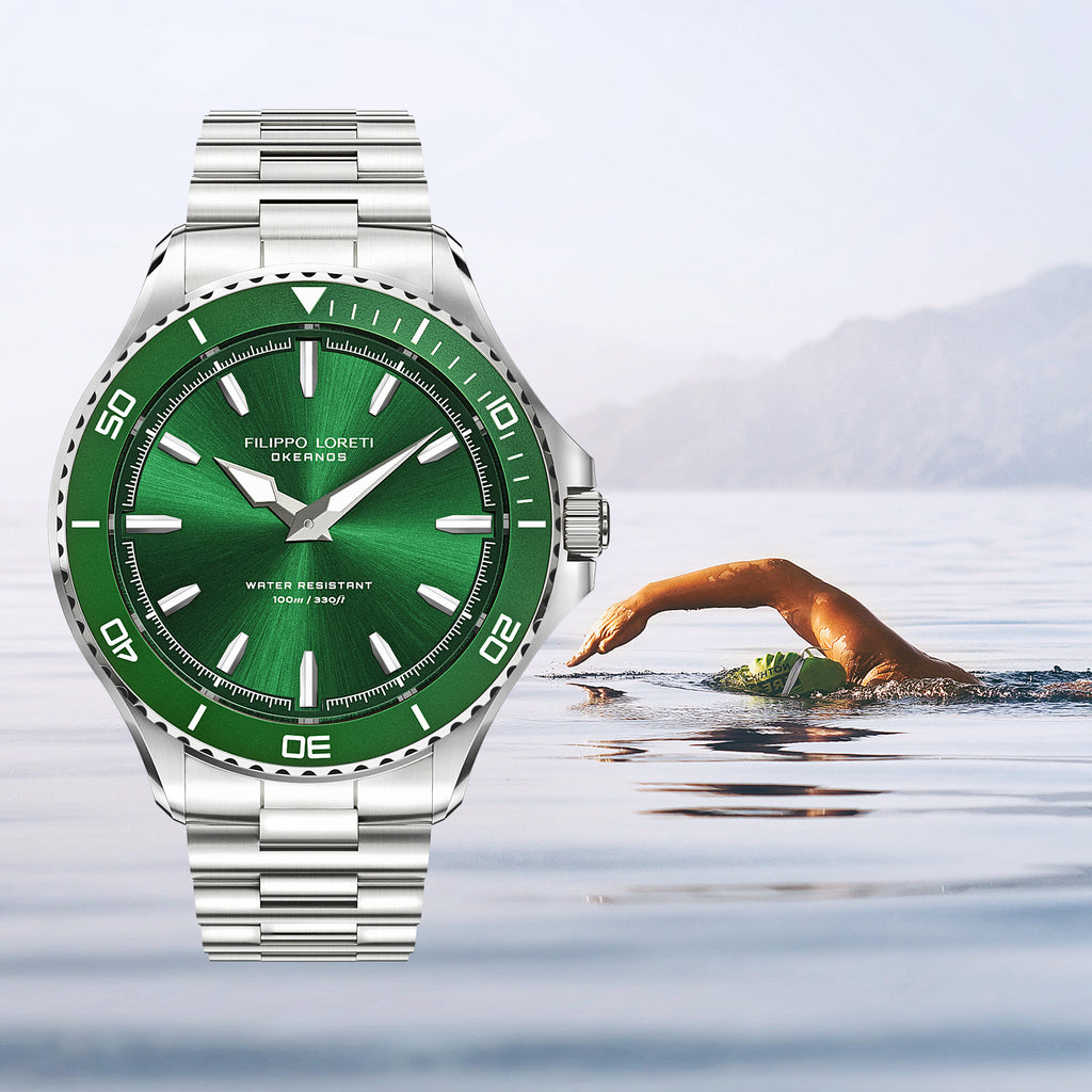 Okeanos green steel link diver swimmer