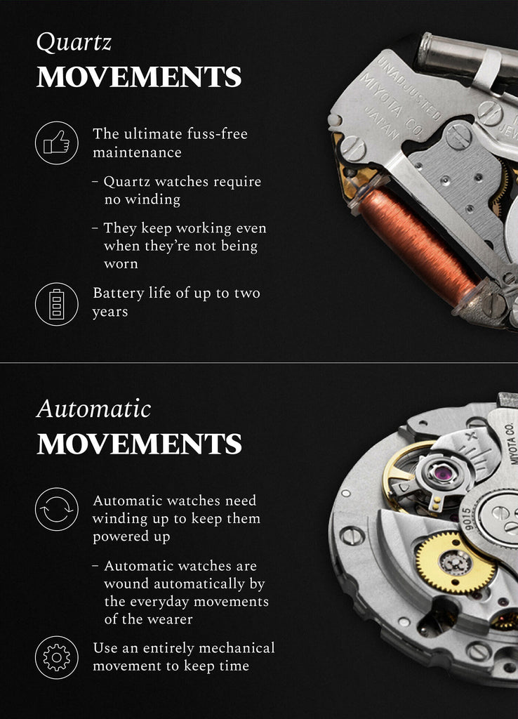 fc6e19dba4f The key difference lies in the way each type of watch is powered. Quartz  watches are electronic and rely on a battery to keep running. Automatic  watches ...