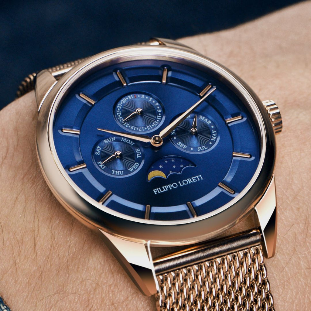 Venice Moonphase Rose Gold Blue Mesh Watch