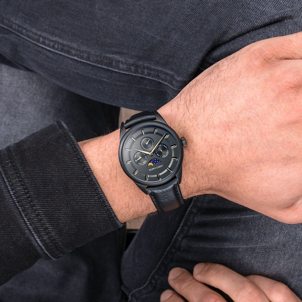 Venice Moonphase Black Gold Watch For Men From Filippo Loreti