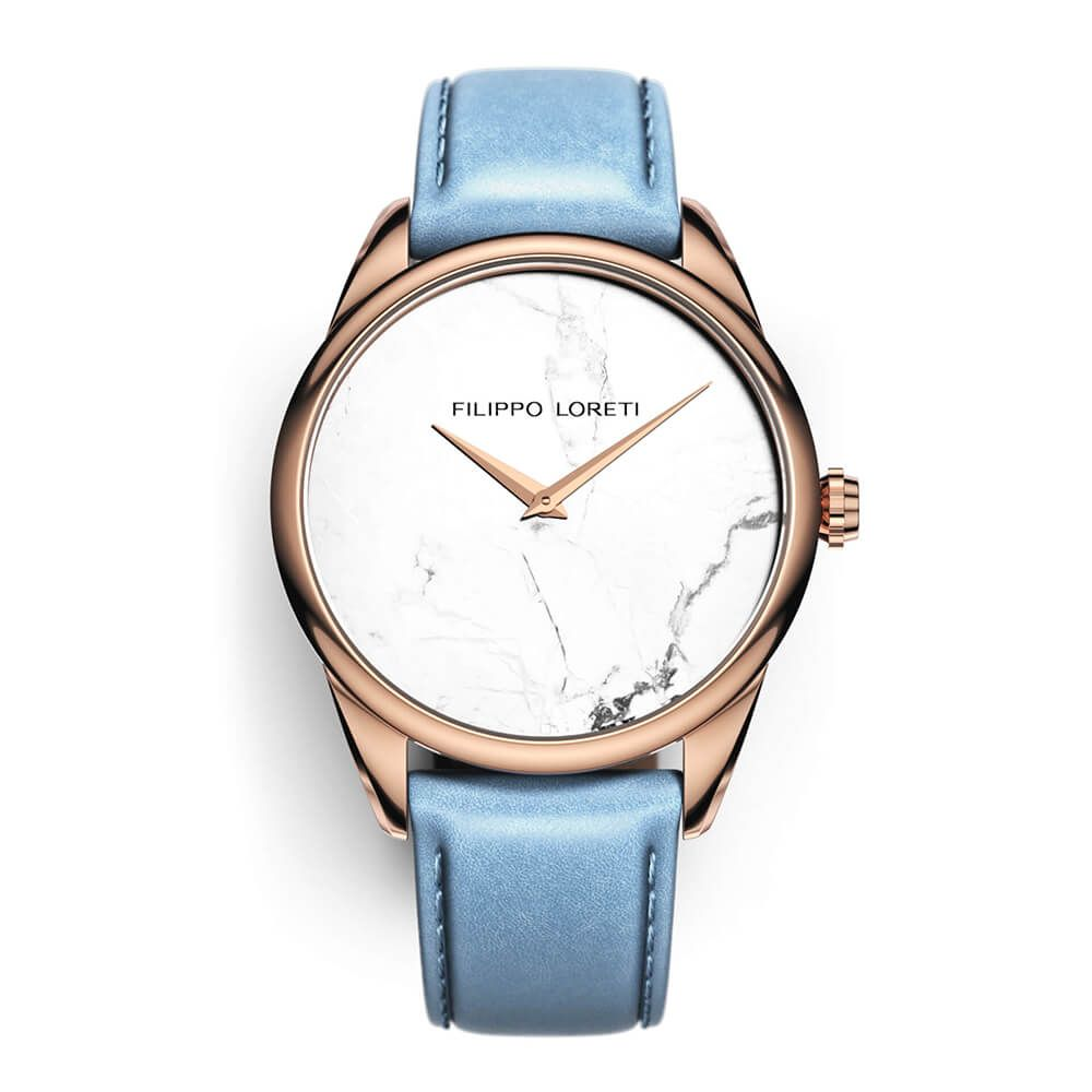 Marble Rose Gold White Watch from Filippo Loreti