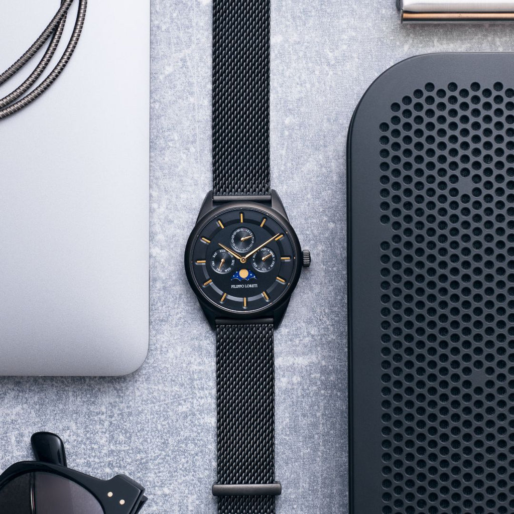 Venice Moonphase Black Gold Mesh Watch From Filippo Loreti