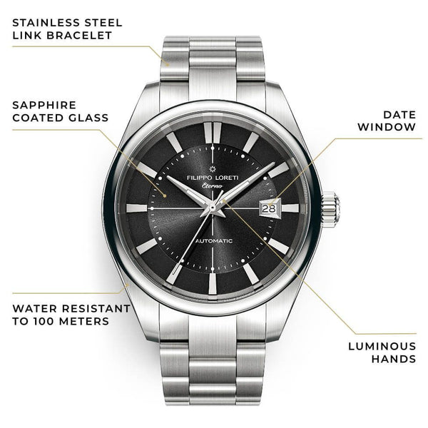 Eterno Black Shadow Link Automatic Watch