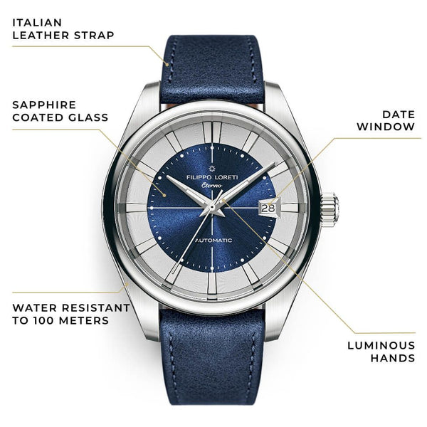 Eterno Cobalt Silver Leather Strap Automatic Watch