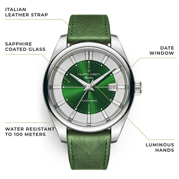 Eterno Emerald Leather Strap Automatic Watch