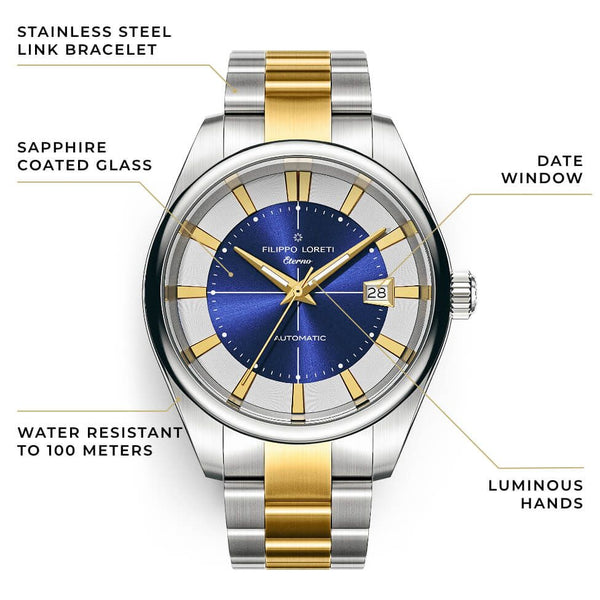 Eterno Gilded Azure Link Automatic Watch