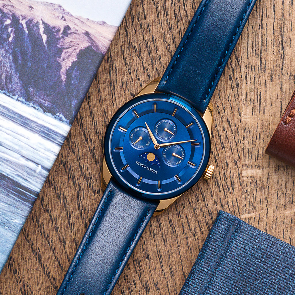 Venice moonphase blue gold watch for men online