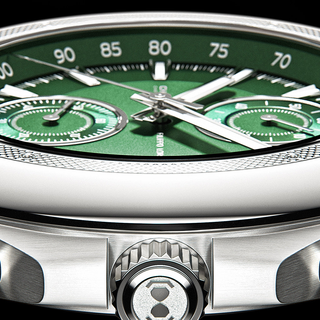 Chronus Green Steel Chronograph Watch For Men Online