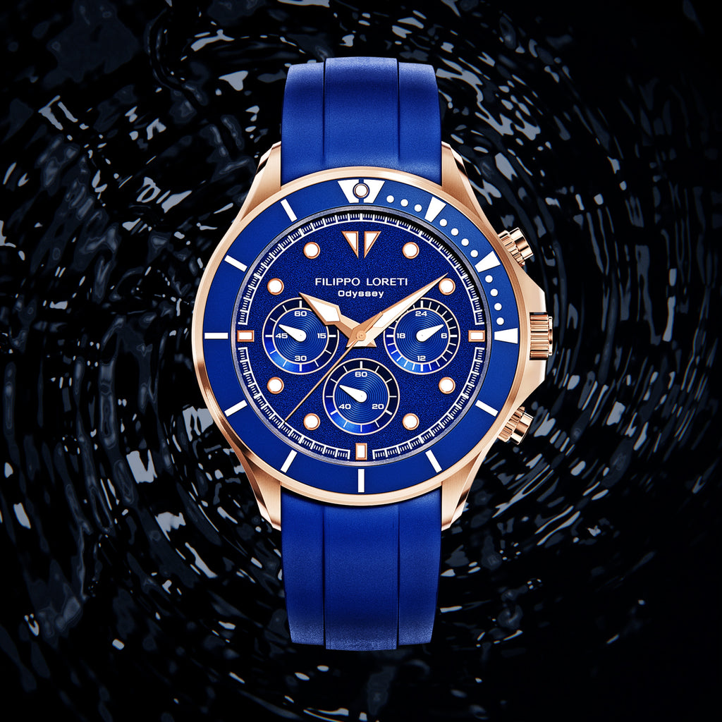 Odyssey Rose Gold Blue Rubber Watch For Men Online