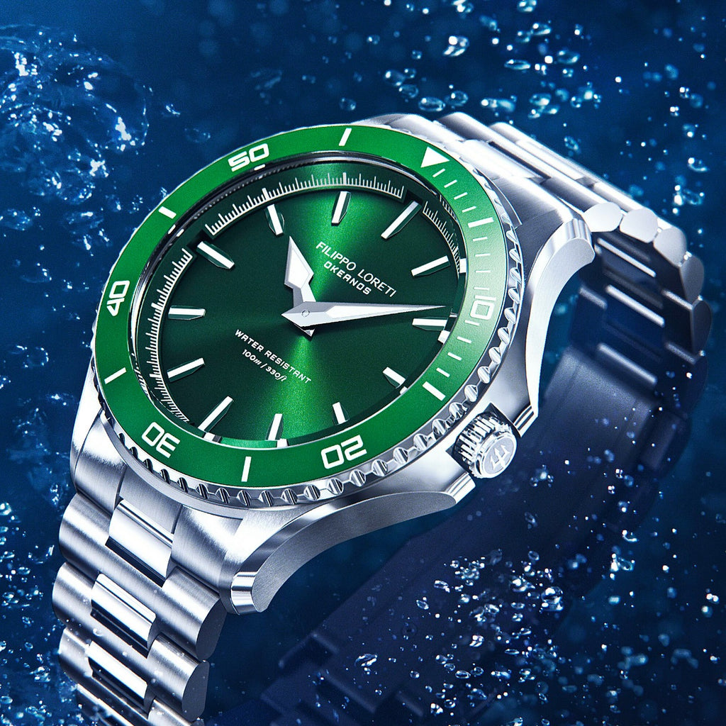 Okeanos green steel link timepiece watch