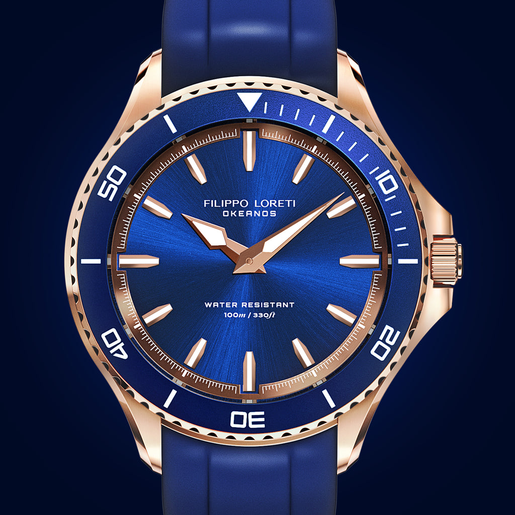 Okeanos rose gold blue rubber watch for men online