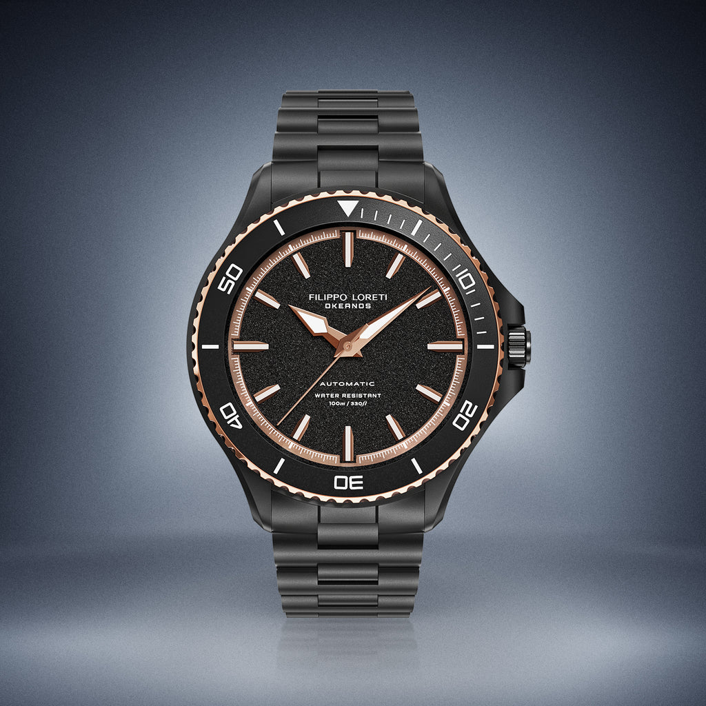 Okeanos Automatic Two tone black link watch