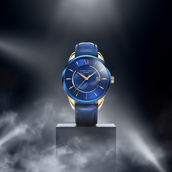 Rome Blue Gold Automatic Watch