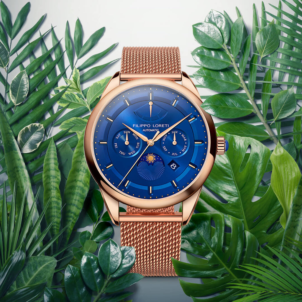 Venice Automatic Rose Gold Blue watch with Mesh strap