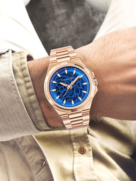Skeleton Rose Gold Blue Automatic Watch