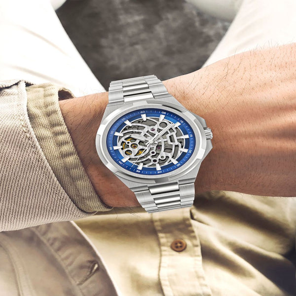 Skeleton Silver Navy Automatic Watch