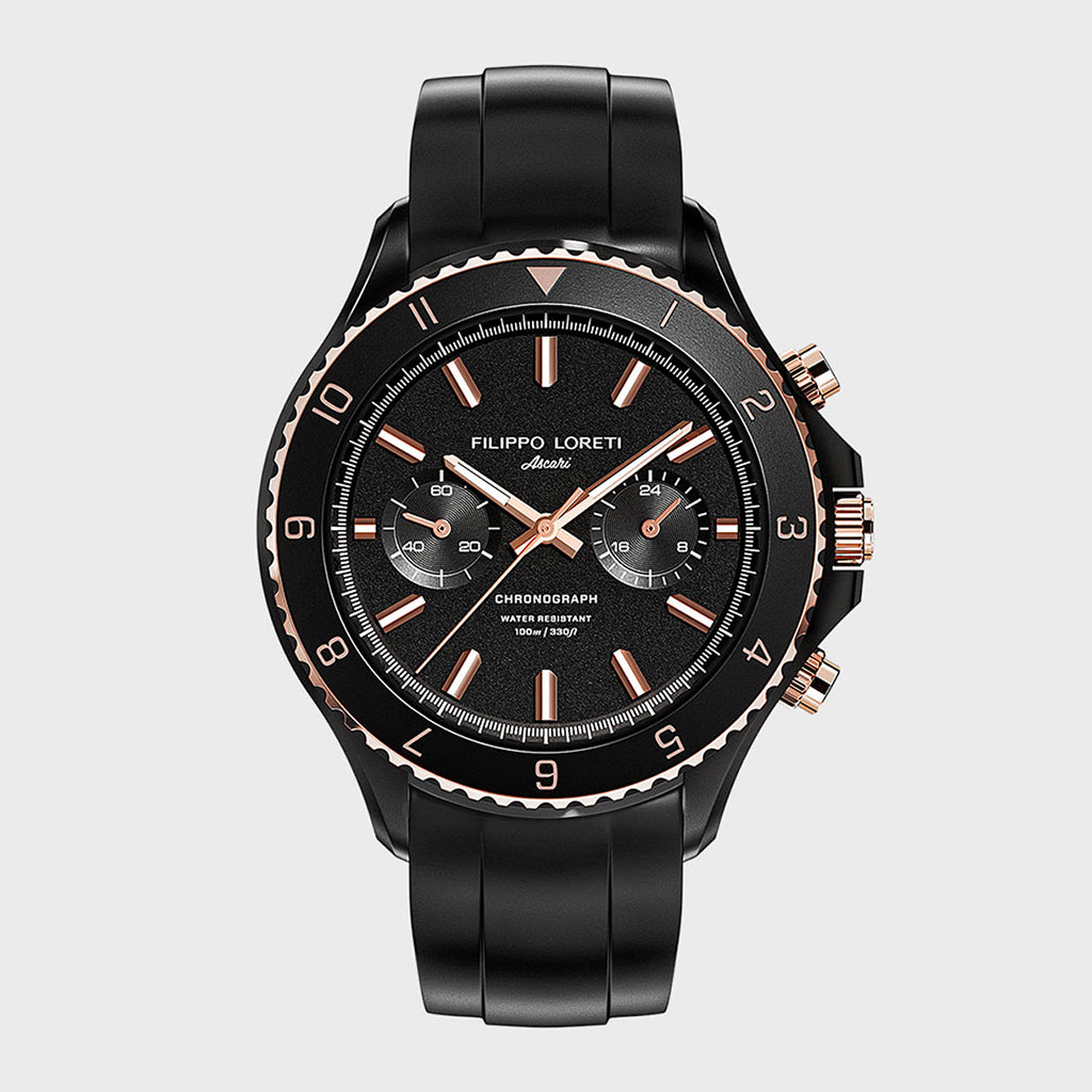 Ascari Two Tone Black Rose Watch For Men Online