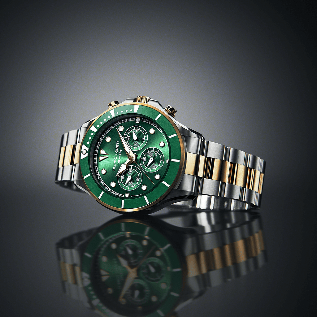 Odyssey Two Tone Green Link Watch For Men Online