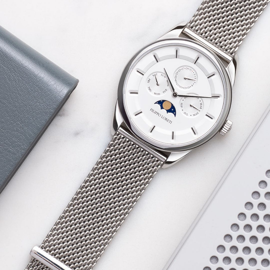 Venice Moonphase Silver Mesh Men's Watch with White Dial