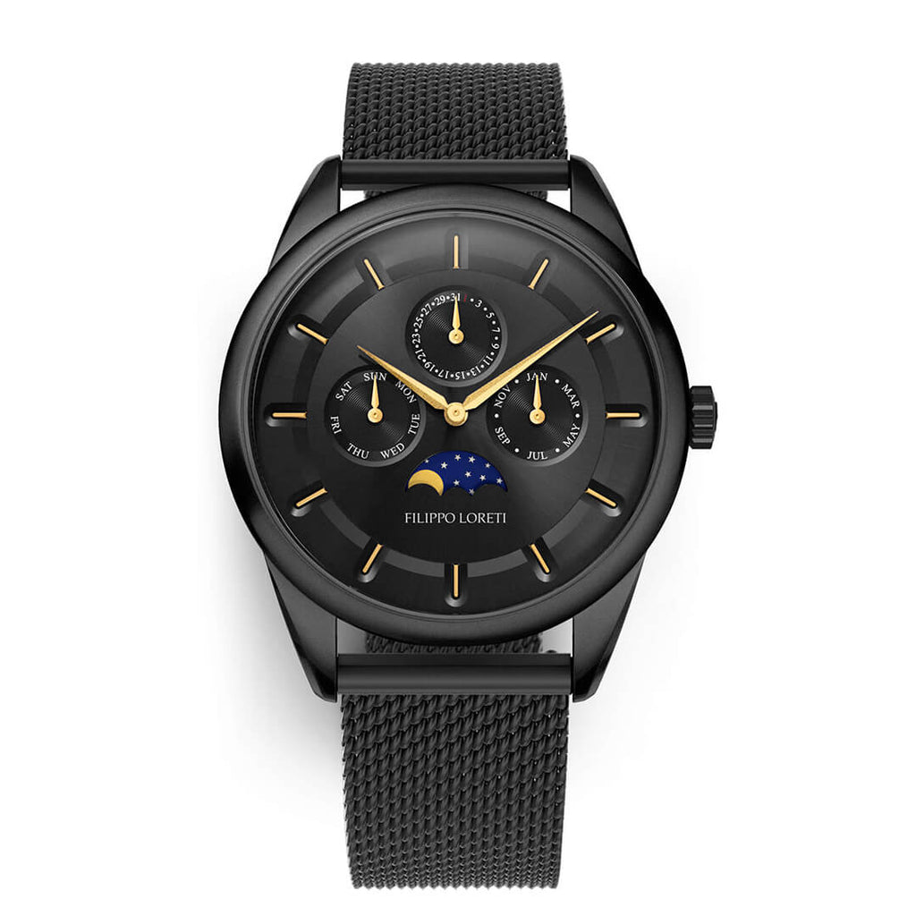 Venice Moonphase Black Gold Mesh Watch For Men Online