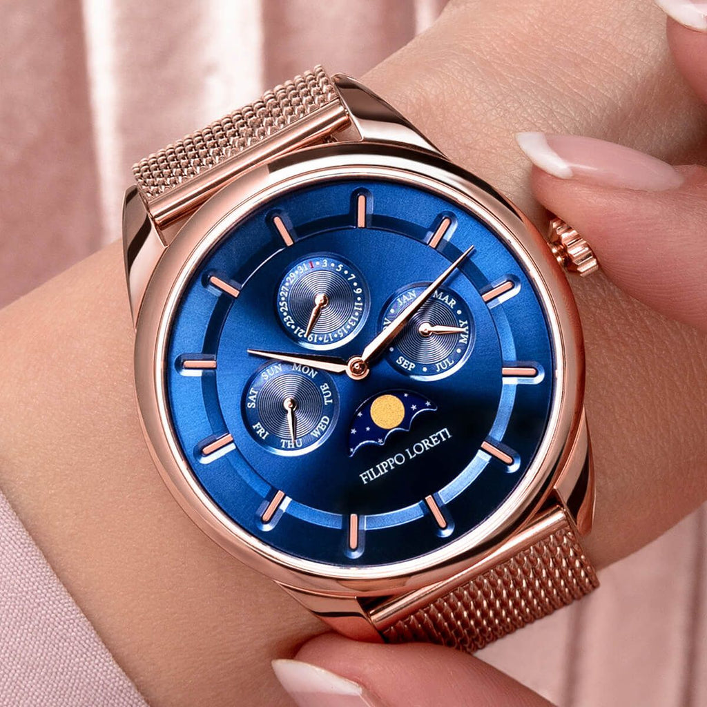 Venice Moonphase Rose Gold Blue Mesh Watch from Filippo Loreti