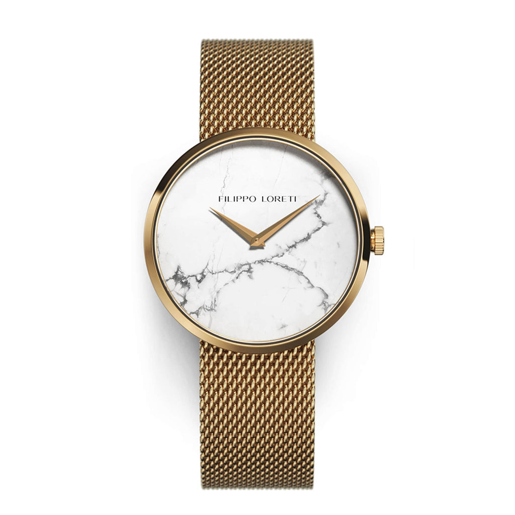 Essence Gold White Marble Mesh Watch For Ladies From Filippo Loreti