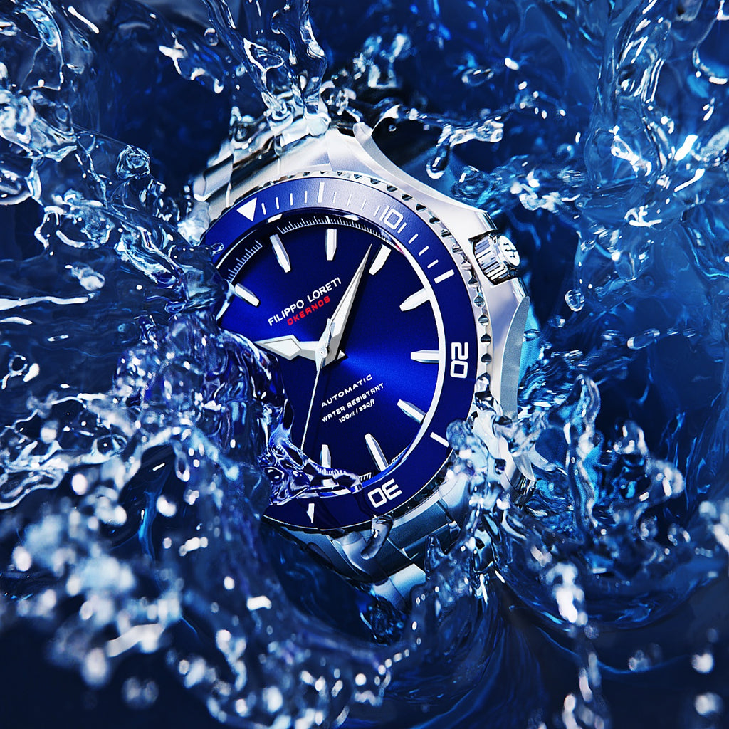 Okeanos blue steel link timepiece watch