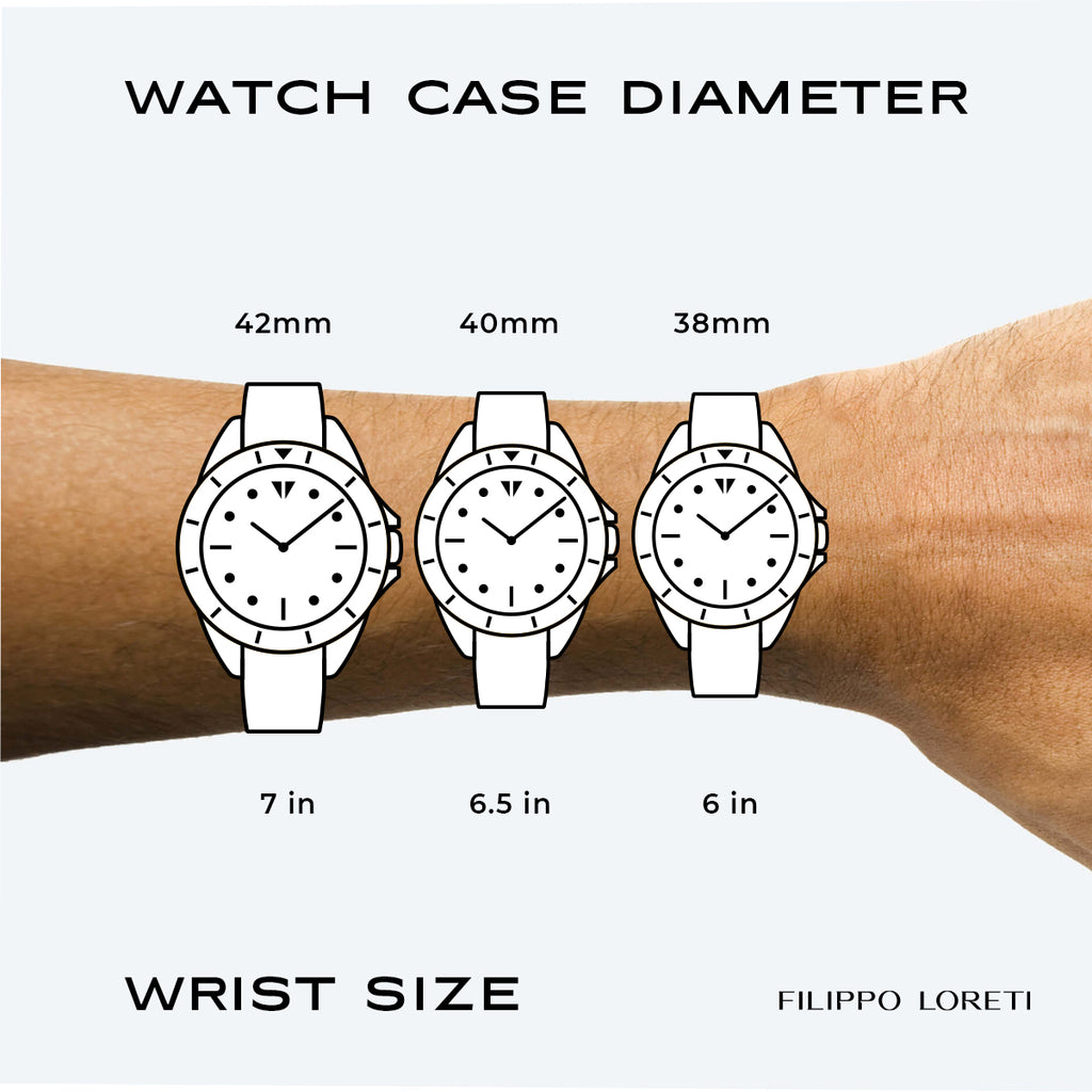 Watch size guide from Filippo Loreti