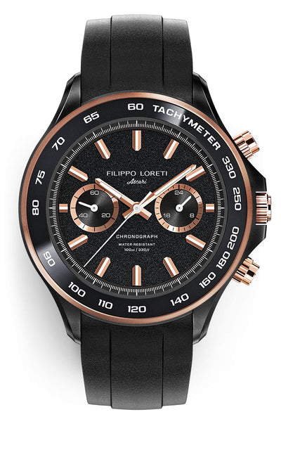 Ascari Black Rose Gold Rubber
