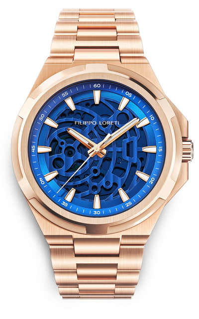 Skeleton Rose Gold Blue