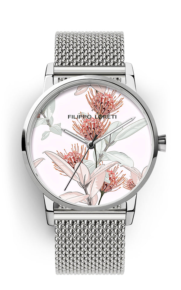 Pink Floral Silver Mesh