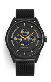 Venice Moonphase Black Gold Mesh