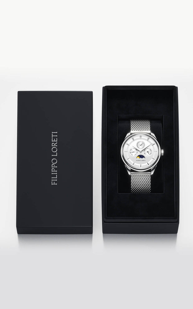 Venice Moonphase Silver Mesh
