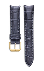 Grey Italian Leather Strap With Alligator Pattern