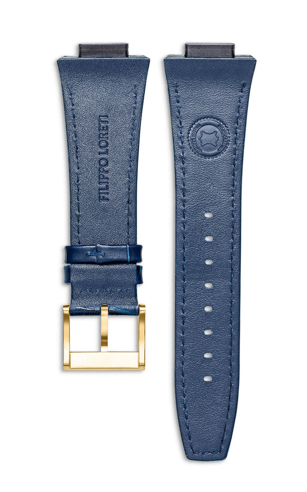 Blue Italian Leather Strap With Alligator Pattern Florence