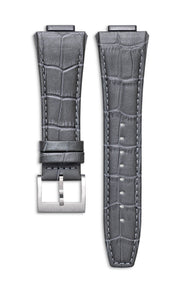 Grey Italian Leather Strap With Alligator Pattern Florence