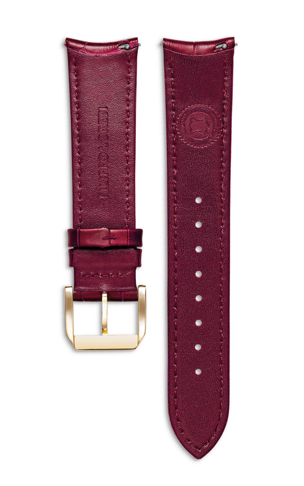 Burgundy Italian Leather Strap With Alligator Pattern
