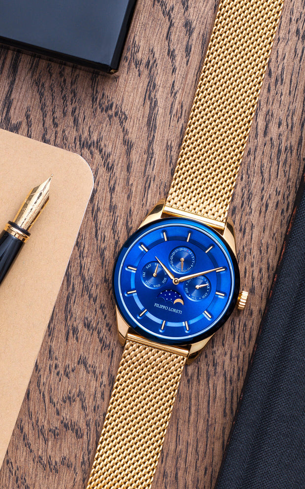 Venice Moonphase Blue Gold Mesh